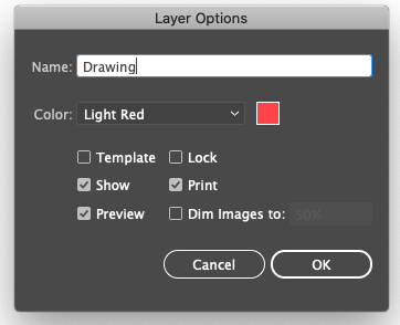 Layer Options Drawing